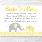 Yellow Chevron Elephant Printable Baby Shower Book Request Cards #A181