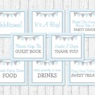 Blue Chevron Baby Shower Table Signs - 8 Printable Signs #A260
