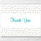 Baby Sprinkle Rainbow Blue Thank You Card Printable #A386