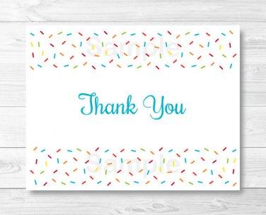 Baby Sprinkle Rainbow Blue Thank You Card Printable #A386