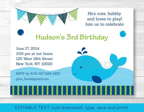 Nautical Blue Whale Birthday Invitation Printable Editable PDF #A163
