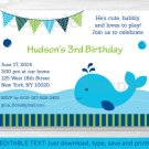Nautical Blue Whale Birthday Invitation Printable Editable PDF #A163