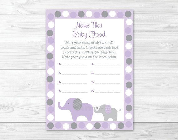 Lavender Elephant Name That Baby Food Baby Shower Game Printable #A242