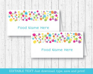 Art Party Buffet Tent Cards & Place Cards Editable PDF #A280