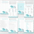 Teal Elephant Baby Shower Games Pack - 8 Printable Games #A387