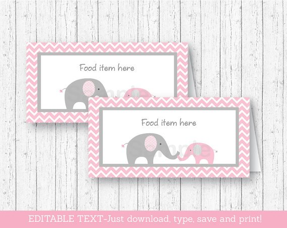 Pink Chevron Elephant Buffet Tent Cards & Place Cards Editable PDF #A186
