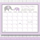 Purple Chevron Elephant Baby Due Date Calendar Editable PDF #A184