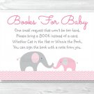 Pink Chevron Elephant Printable Baby Shower Book Request Cards #A186