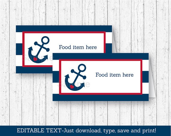 Nautical Anchor Blue & Red Buffet Tent Cards & Place Cards Editable PDF #A259