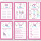 Pink Baby Sprinkle Baby Shower Games Pack - 6 Printable Games #A357