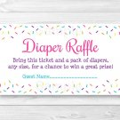 Pink Baby Sprinkle Printable Baby Shower Diaper Raffle Tickets #A357