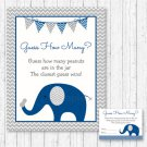 "Blue Elephant Guess The Peanuts Baby Shower ""Guess How Many?"" Game Cards #A373"