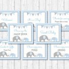 Blue Chevron Elephant Baby Shower Table Signs - 8 Printable Signs #A187