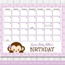 Purple Monkey Baby Due Date Calendar Editable PDF #A388
