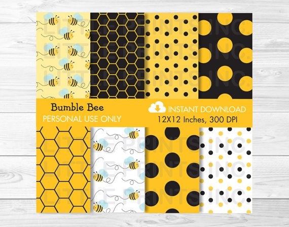 Bumble Bee Digital Paper #A134