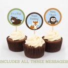 Bear Fox Owl Forest Friends Printable Cupcake Toppers Party Favor Tags #A290
