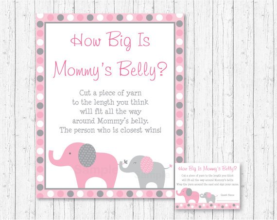 Pink & Gray Polka Dot Elephant How Big Is Mommys Belly Baby Shower Game #A160