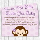 Purple Monkey Printable Baby Shower Book Request Cards #A388
