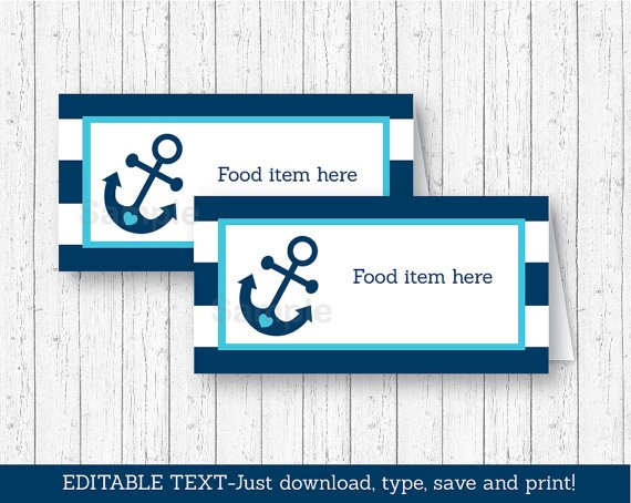 Nautical Anchor Buffet Tent Cards & Place Cards Editable PDF #A222