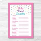 """Pink Baby Sprinkle Printable Baby Shower """"Baby Word Scramble"""" Game Cards #A357"""