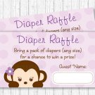 Purple Monkey Printable Baby Shower Diaper Raffle Tickets #A388