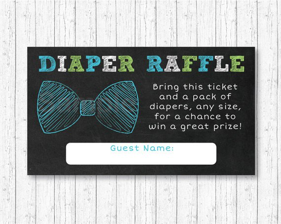 Bow Tie Chalkboard Printable Baby Shower Diaper Raffle Tickets #A382