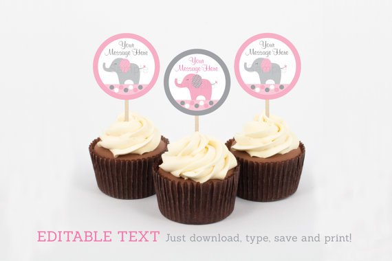 Pink & Gray Polka Dot Elephant Cupcake Toppers Party Favor Tags Editable PDF #A160