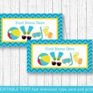 Boys Pool Party Buffet Tent Cards & Place Cards Editable PDF #A343