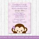 Purple Monkey Printable Baby Shower Invitation Editable PDF #A388