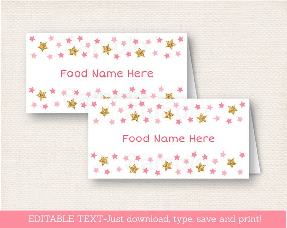 Twinkle Star Pink & Gold Buffet Tent Cards & Place Cards Editable PDF #A358