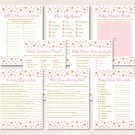 Twinkle Star Pink & Gold Baby Shower Games Pack - 8 Printable Games #A358