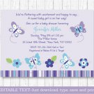 Purple Butterflies Printable Baby Shower Invitation Editable PDF #A218