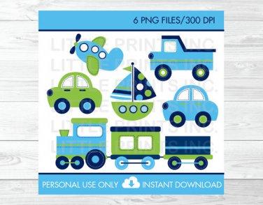 Transportation Vehicles Car Truck Sailboat Airplane Train Clipart #A143