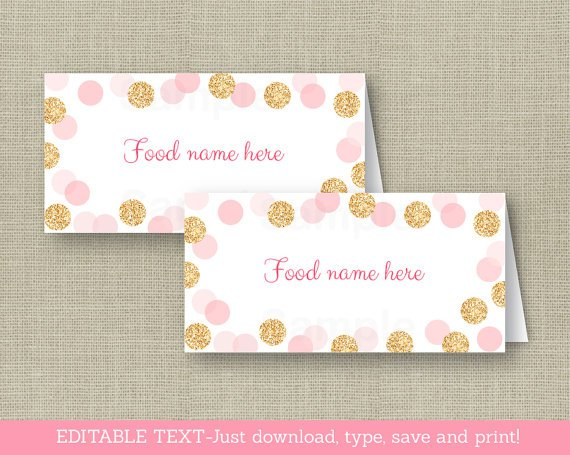 Blush Pink & Gold Glitter Dots Buffet Tent Cards & Place Cards Editable PDF #A380