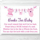 Pink Baby Clothesline Printable Baby Shower Book Request Cards #A389