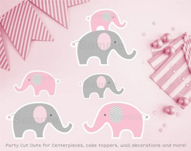 Pink Chevron Elephant Party Cutouts Decorations Printable #A186