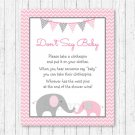 Pink Chevron Elephant Dont Say Baby Baby Shower Game Printable #A186