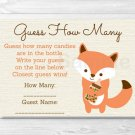 "Woodland Fox Gender Neutral Printable Baby Shower ""Guess How Many?"" Game Cards #A191"