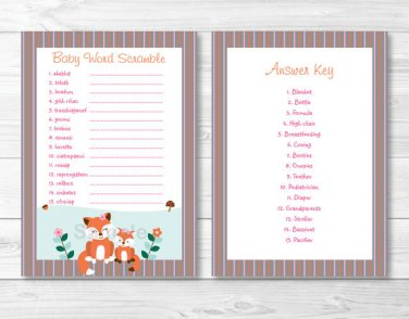 """Woodland Girl Fox Printable Baby Shower """"Baby Word Scramble"""" Game Cards #A244"""
