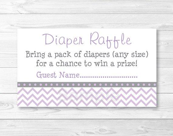 Purple & Grey Chevron Printable Baby Shower Diaper Raffle Tickets #A370