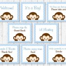 Blue Monkey Baby Shower Table Signs - 8 Printable Signs #A175