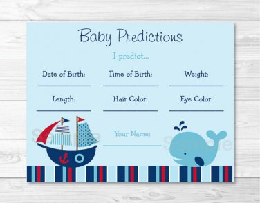 Nautical Pirate Whale Baby Shower Baby Predictions Game Cards Printable #A287