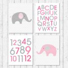 Pink Chevron Elephant Printable Nursery Wall Art #A186