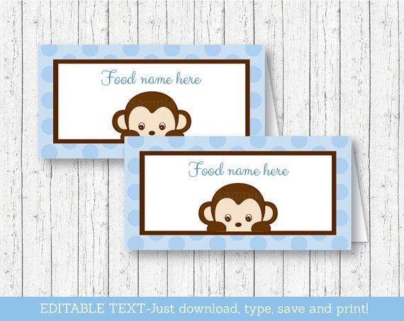 Mod Pop Monkey Blue Buffet Tent Cards & Place Cards Editable PDF #A175