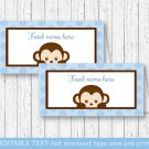 Mod Pop Monkey Blue Buffet Tent Cards & Place Cards Editable PDF #A175