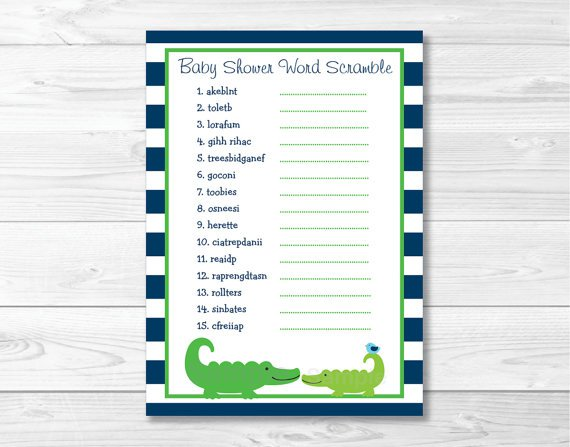 "Preppy Alligator Printable Baby Shower ""Baby Word Scramble"" Game Cards #A157"