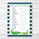 """Preppy Alligator Printable Baby Shower """"Baby Word Scramble"""" Game Cards #A157"""