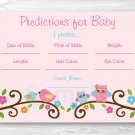 Sweet Baby Owl Pink Love Birds Baby Shower Baby Predictions Game Cards Printable #A253