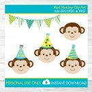 Mod Monkey Birthday Clipart #A192