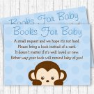 Little Monkey Blue Printable Baby Shower Book Request Cards #A175